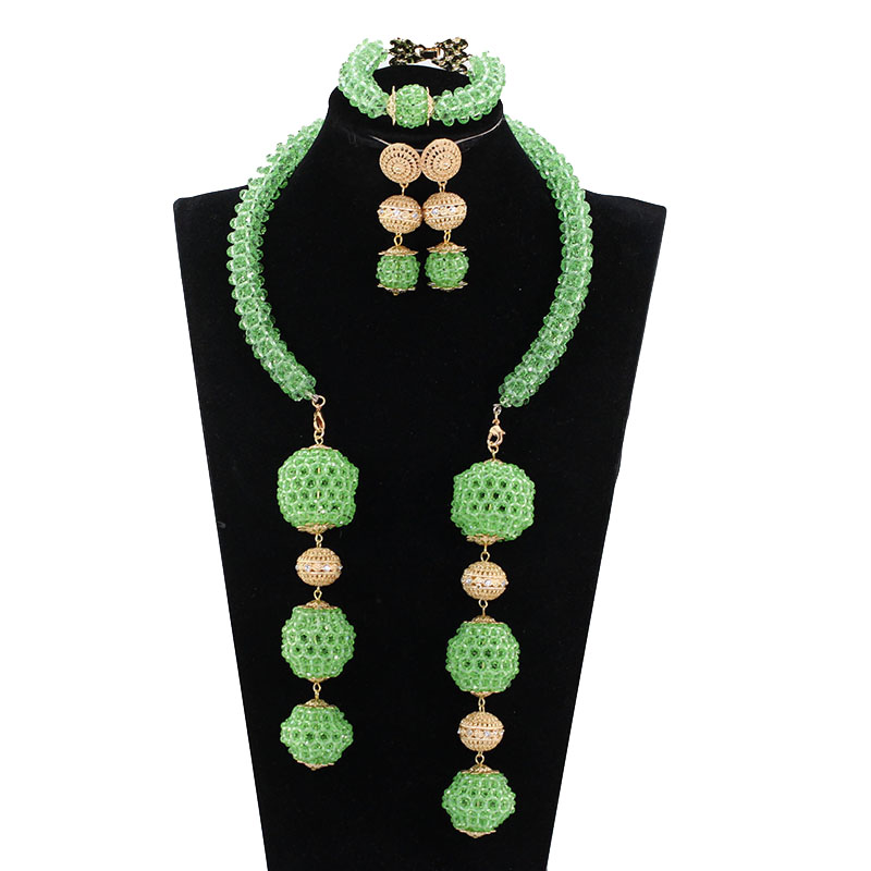 Trendy 2017 Gift Jewelry Fashion Lime Green Nigerian Wedding Party Jewelry Sets African Beads Pendant Bridal Necklace Set ABH600
