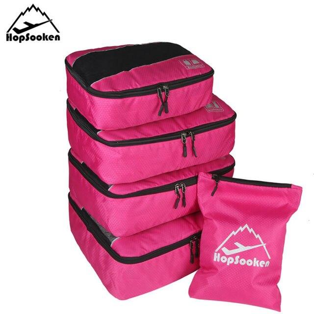 Hopsooken Waterproof Travel Packing Cubes Set Nylon Luggage Travel Bags T Shirt Organizer Packing 5pcs Set Laundry Cube HS183