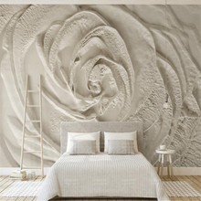 beibehang Custom beige 3d rose mural wallpaper embossed photo simple decorative TV background wall for walls 3 d