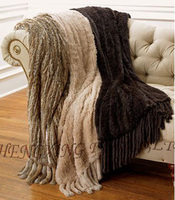 CX D 20A Many Colors Handmade Chinese Cheap Genuine Rabbit Fur Knitted Blanket With Fringes