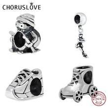 Choruslove Skater Charm Ski Boot Bead 925 Sterling Silver Ice Skate Beads Fit Original Pandora Charms Gift Bracelet DIY Jewelry