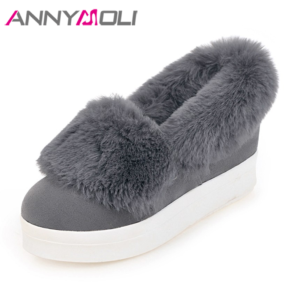 ANNYMOLI Women Flat Platform Shoes Creepers Real Rabbit Fur Warm Loafers Ladies Causal Flats 2018 Spring Black Gray Size 9 42 43 flat shoes women pu leather women s loafers 2016 spring summer new ladies shoes flats womens mocassin plus size jan6