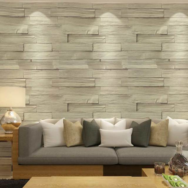 Chinese Style Imitation Wood Brick Vinyl Wallpaper 3D PVC Embossed Kitchen Living  Room Home Decor Washable