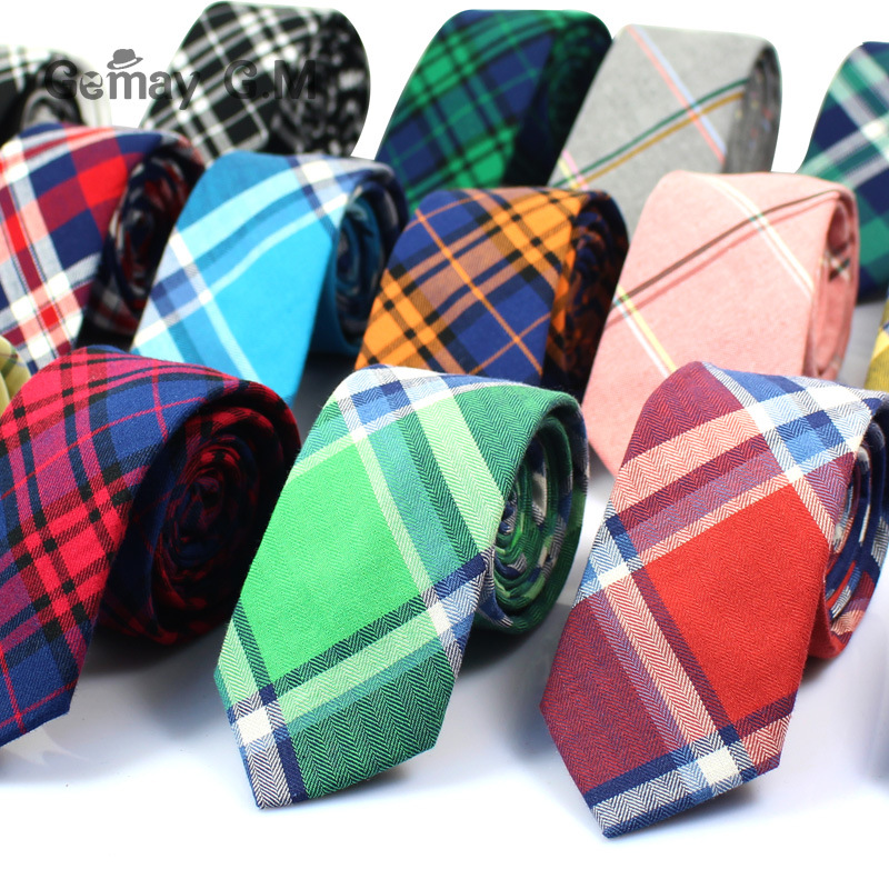 Марка Вратовръзки за мъже 100% памук Мъжки вратовръзки Каузална тесен карирана вратовръзка за мъж Бизнес Corbatas младоженско парти тънки вратовръзки