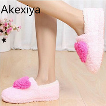 Akexiya Lovely Ladies Home Floor Soft Women indoor Slippers Outsole Cotton-Padded Shoes Female Cashmere Warm Casual Shoes