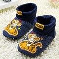 Новорожденных мальчиков впервые ходунки мультфильм тигра ситец детская обувь 0405