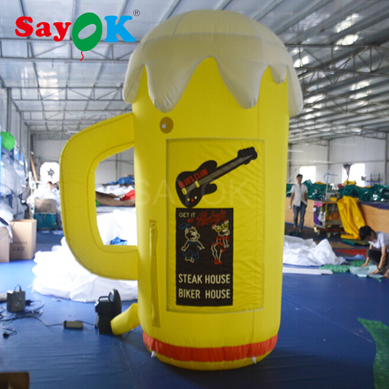 2.5m(8.2ft) High Inflatable Beer Cup, Hot Selling Inflatable Beer Mug for Bars, Oktoberfest and Commercial Activities