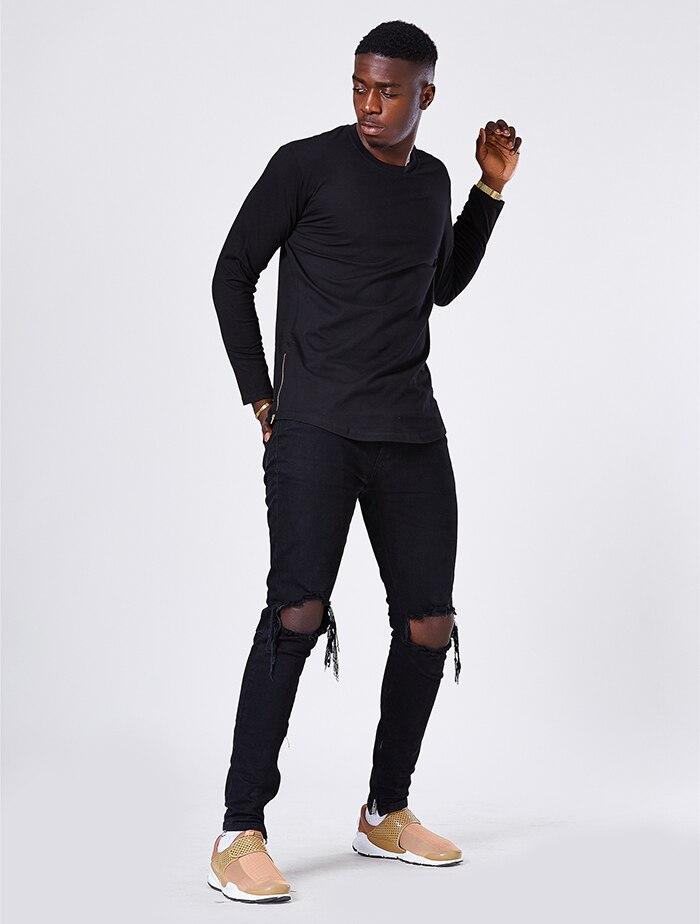 db289b6e6e9 ... Moomphya fashion street wear t shirt men extend swag side zip t shirt  Super Longline Long ...
