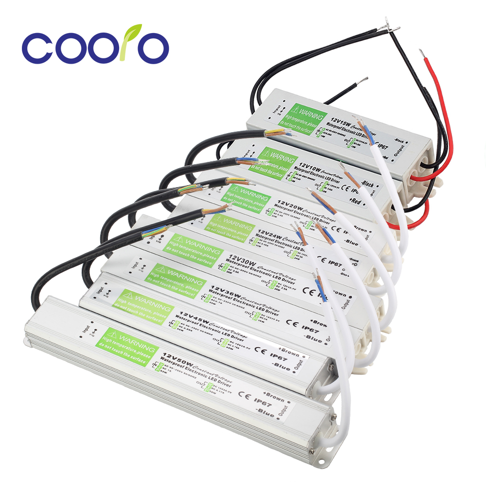 AC90V-250V To DC12V 10W 15W 20W 24W 30W 36W 45W 50W IP67 Waterproof LED Transformer Electronic Aluminum Driver Power Supply