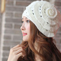 New Elegant  Winter Warm Women Beret Braided Knit Crochet Baggy Beanie Flower Hat  Free Shipping DM#6