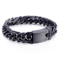 18mm Heavy Mens Boys Chain Cut Rombo Double Cuban Curb Link Gunmetal Tone 316L Stainless Steel