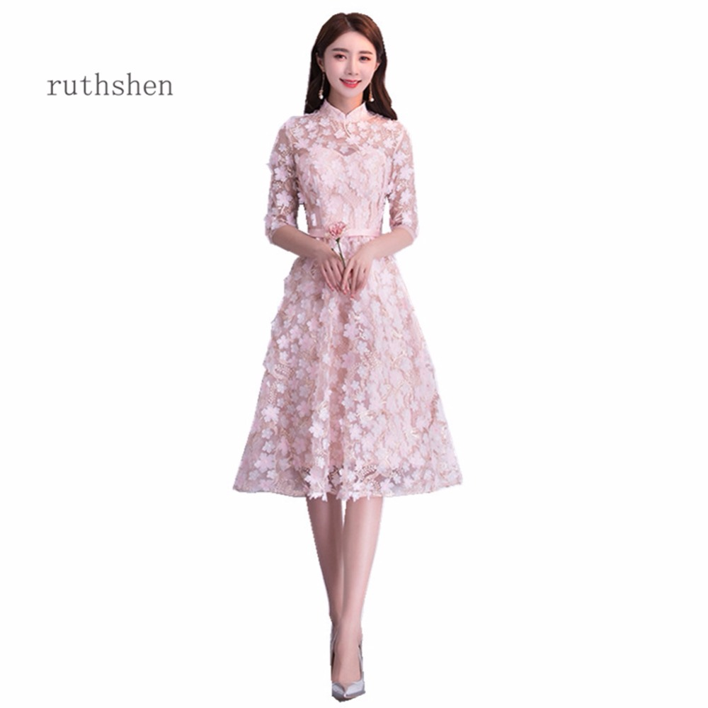 ruthshen Elegant High Neck Prom Dresses 2018 A Line Tea Length ...
