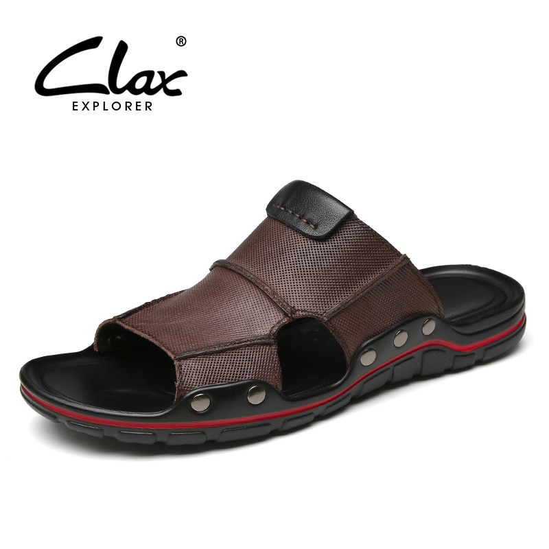 CLAX Man Leather Slippers Breathable 2019 Summer Men Sandals Outdoor Genuine Leather Male Beach Shoe