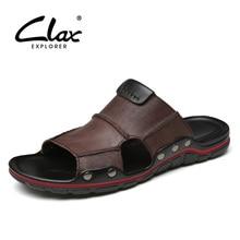 CLAX człowiek skórzane kapcie oddychające 2019 letnie męskie sandały na zewnątrz prawdziwej skóry mężczyzna plażowy but