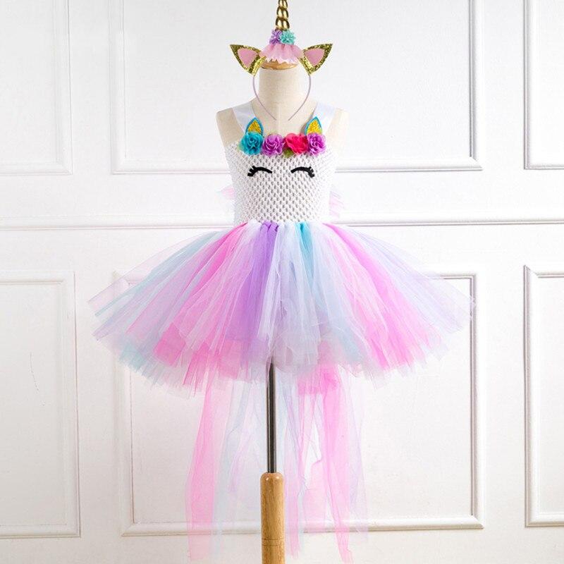 Flower Girls Unicorn Tutu Dress Pastel Rainbow Princess Girls Birthday Party Dress Children Kids Halloween Unicorn Costume 2-12Y