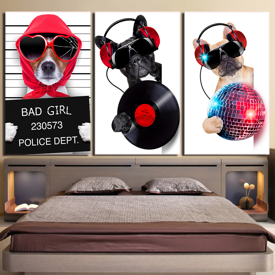 Modular Painting Canvas Wall Art Pictures Home Decoration 3 Pieces Musicality Bulldog Living Room Modern HD Printed Poster Frame