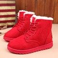 Botas Femininas botas de Mujeres Botas de Encaje Hasta Botines Zapatos De Las Mujeres Calientes de Las Señoras de Invierno Botas de Mujer Rojo Negro