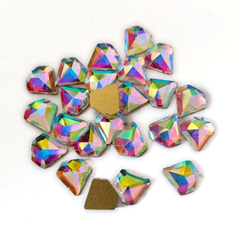 2017 fashion Drilling 7 high shinning flat-back Crystal AB 100pcs/pack glass Nail Art Fancy Colorful 3D nail Stones