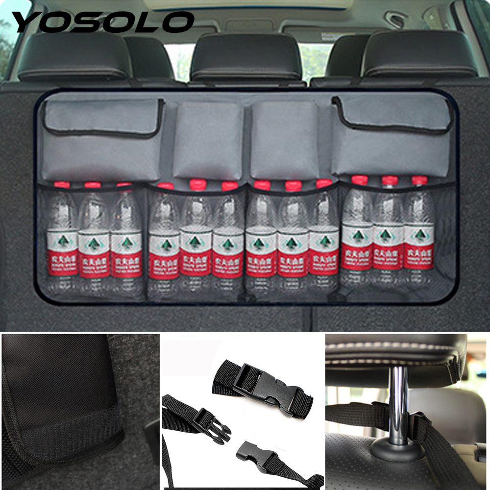 YOSOLO High Capacity Car Trunk Organizer Auto Seat Back Storage Bag Stowing Tidying Backseat Organizer Net Pocket Car-styling