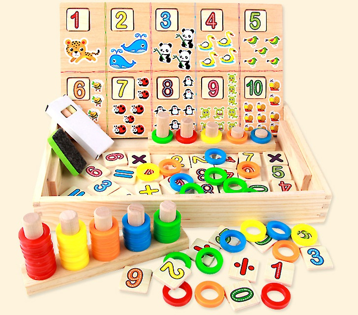 ФОТО Bady Toys Wooden Intelligence Stich Education Wooden Toys Building Blocks Digit And Animals Count Box