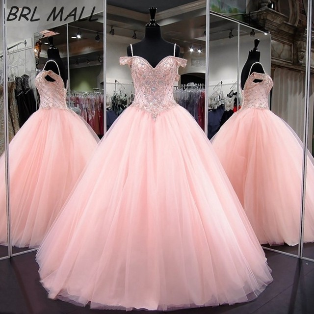 4a3780ca23 Gorgeous Beaded Crystal Pink Quinceanera Dresses Floor Length Tulle  Spghetti Straps Prom Dresses Ball Gown Sweet 16 Dresses