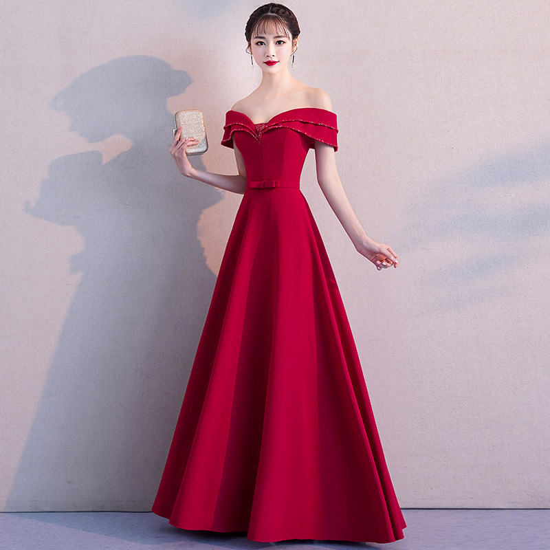 New Arrival Burgundy A-line   Prom     Dresses   Off the Shoulder Simple Evening Gowns Draped Satin Special Occasion   Dress   Robe de bal