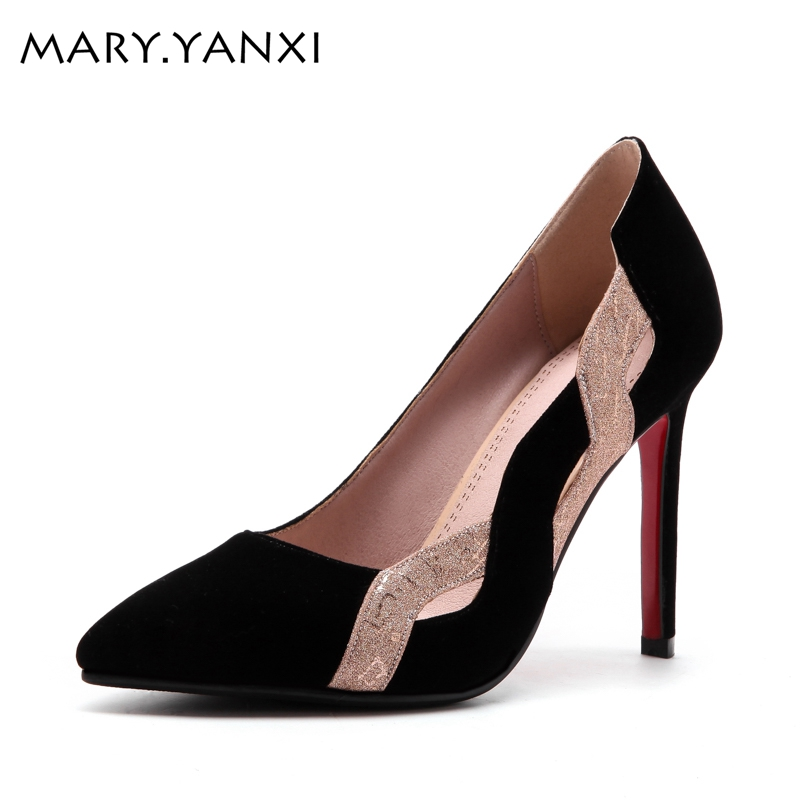 Women pumps fashion shoes for woman office lady shoes pointed toe high heels party dress shoes shallow mouth nubuck leather shoe фен технический зубр фт 1600
