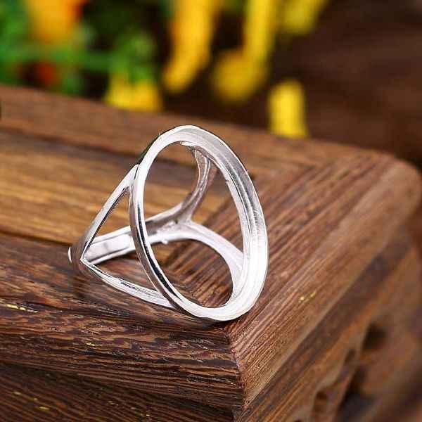 925 เงินสเตอร์ลิง 20x25 มิลลิเมตรรูปไข่ Cabochon กึ่ง Mount แหวนหมั้นแหวนเครื่องประดับการตั้งค่า fit Amber Turquoise lapis Lazuli