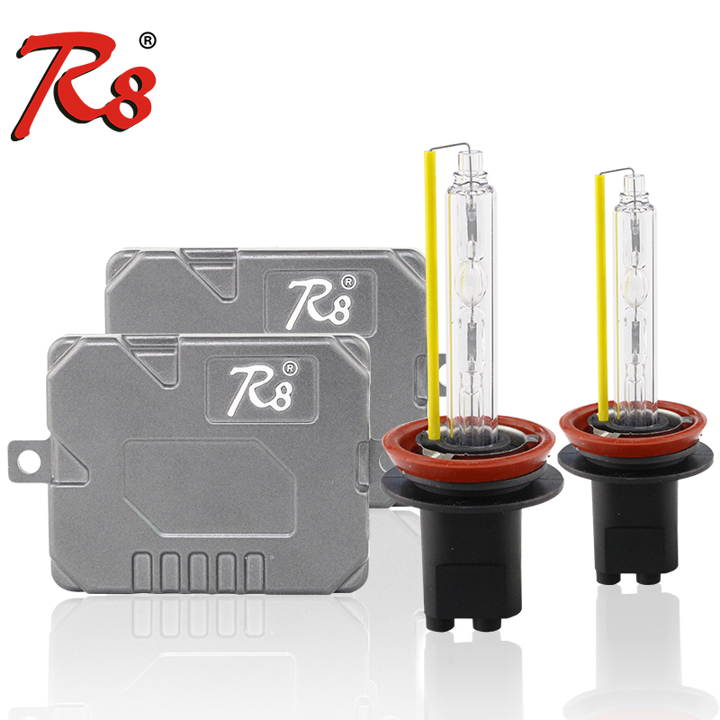 R8 Fast Quick Start Slim 55W Ballast HID Xenon Light Kits 880 H1 H3 <font><b>H7</b></font> H11 H8 9005 9006 9012 D2H H4 H13 High Lumen Lamps 5500K image