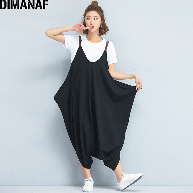 db4aa671e40a DIMANAF Women Plus Size Jumpsuits Harem Cargo Pants Solid Black Loose  Summer Oversized Casual Female Elastic Large New Trousers