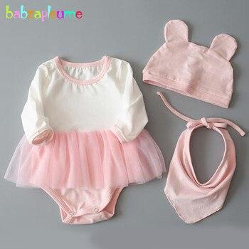 Babzapleume, conjuntos de verano para bebés y niñas, monos 100% de algodón, monos bonitos + sombreros + conjuntos de ropa de recién nacido, trajes de 3 uds BC1050