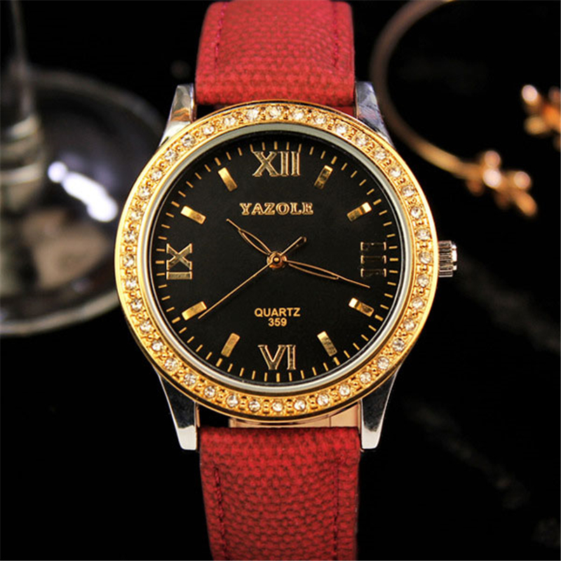 Yazole 2017 Watch Women Luxury Brand Fashion Ladies Watches Rhinestone Female Leather Gold Waterproof Quartz Watch