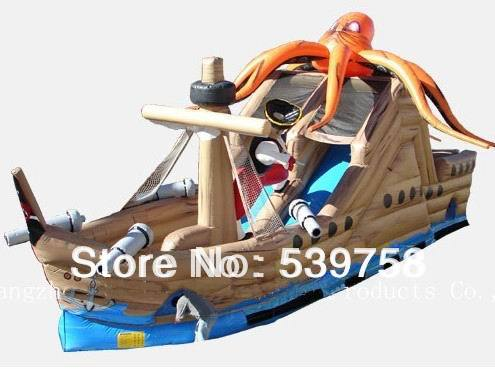 Factory direct inflatable trampoline, inflatable slides, inflatable pirate ship Octopus pirate ship factory direct inflatable castle slide small household slides inflatable slides cn 046