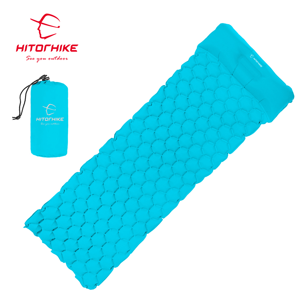 Hitorhike Inflatable mattress Cushion Sleeping Bag Mat Fast Filling Air Moistureproof Camping beach Mat With Pillow Sleeping Pad