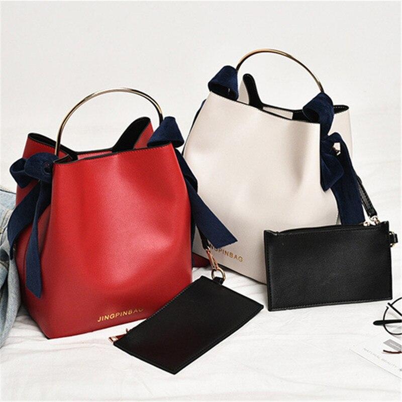 2-em-1 balde bolsa Anel de metal alça personalidade do desenho original saco tendência saco Do Mensageiro Do ombro Colorido