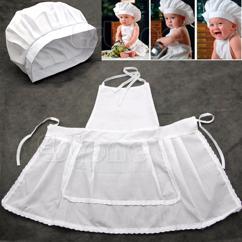 Cute White Baby Cook Costume Photos Photography Prop Newborn Infant Hat ApronCute White Baby Cook Costume Photos Photography Prop Newborn Infant Hat Apron