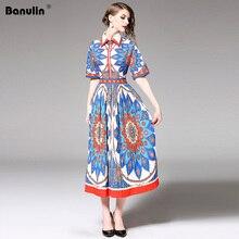 Banulin Runway Summer Vintage Pleated Midi Dress Womens Fashion Short Sleeve Gorgeous Printing Dresses Vestdios B8033