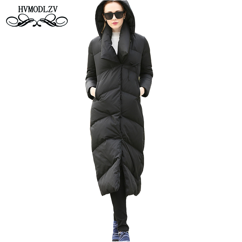 2018 winter long   Down     coat   women Hooded thick white duck top   down   jacket women casacas para mujer Plus size parka female