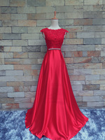 red long prom gown 2018 new design hot sexy cap sleeve crystal bow backless lace appliques vestido de festa bridesmaid dresses