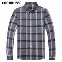 COODRONY Shirt Men 2018 Spring New Camisa Masculina Long Sleeve Cotton Casual Shirts Fashion Plaid Chemise