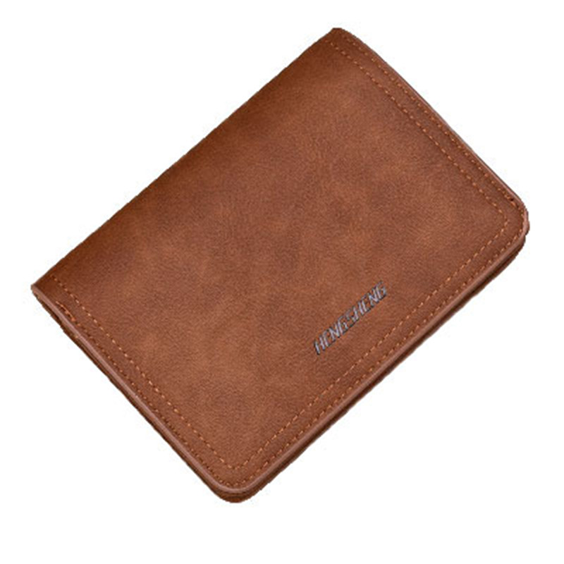 New Zipper wallet retro frosted leather men's wallet High quality PU genuine Short paragraph multi-card buckle purse moana maui high quality pu short wallet purse with button