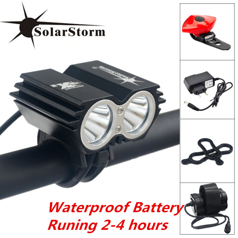 Solarstorm 2*CREE XM-L T6 LED Bike Front Bicycle Light Cycling Lamps For Cycling,Camping,Hiking + Battery Pack + Charger solarstorm x3 bicycle light 8000 lumens 4 mode xm l t6 led cycling front light bike light lamp torch battery pack charger