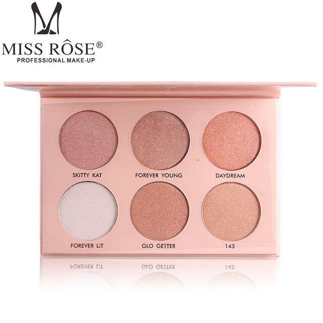 Miss Rose 6 Colores Highlighter Maquillaje Paleta A Prueba de agua de Oro Blanco Shimmer Glow Brillo Polvo Resaltadores Maquillaje Kits