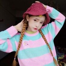 Harajuku/свободный свитер в полоску с длинными рукавами и вышивкой для девочек