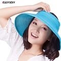 IEASYSEXY Moda Feminina Verão Fresco UV Dobrável Chapéu de Palha Praia protetor solar Cap Fácil Dobrar Vazio Top Rattan Entrançados Chapéu 10 cores