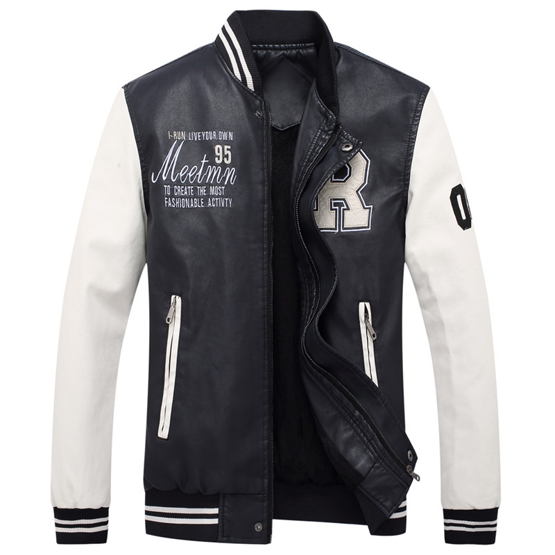 2018 high quality mens leather jacket mens coat Leisure jacket motorcycle leather jacket Baseball uniform