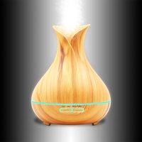 Telinkin 400ml Aroma Essential Oil Diffuser Ultrasonic Air Humidifier With Wood Grain 7Color Changing LED Lights