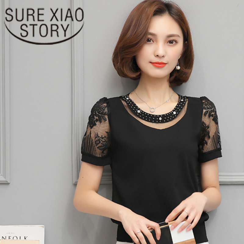 Chiffon Shirt 2017 summer Newest fashion Sweet Hollow Shirt short Sleeve Stitching Lace Blouse Female Sexy Women tops 81H-A9 30