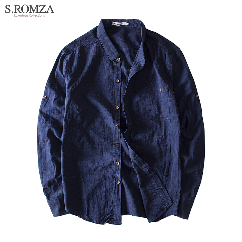 S.ROMZA Mens Cotton Linen Slim Shirt Casual Long-Sleeved Slim Solid Color Man Button Cardigan Male Clothing Asian Size