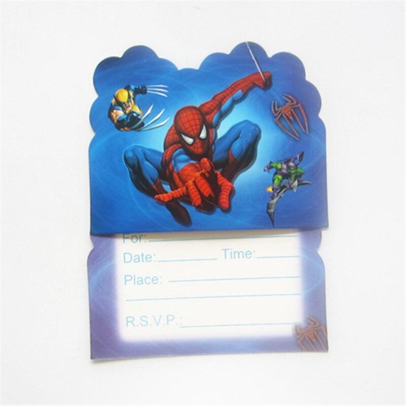10 Teile/los Spiderman Einladungskarte Karikatur Thema Party Für Kinder  Geburtstag Dekoration Thema Partei